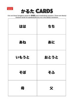 Use these for class sets of かるた cards or to give to students for them to have as vocabulary revision. These set of family member (formal and informal words) themed cards have a set of ひらがな only cards and a near-identical set supported with roomaji + ひらがな. The kanji for mother and father are included. If you need to demonstrate reasonable adjustments for students with special learning needs, this card set is a highly inclusive resource #Japanese #inclusivepractice