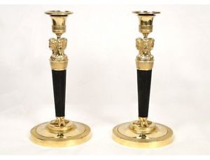 Paire bougeoirs Empire, bronze doré, femmes antiques, XIXè | eBay