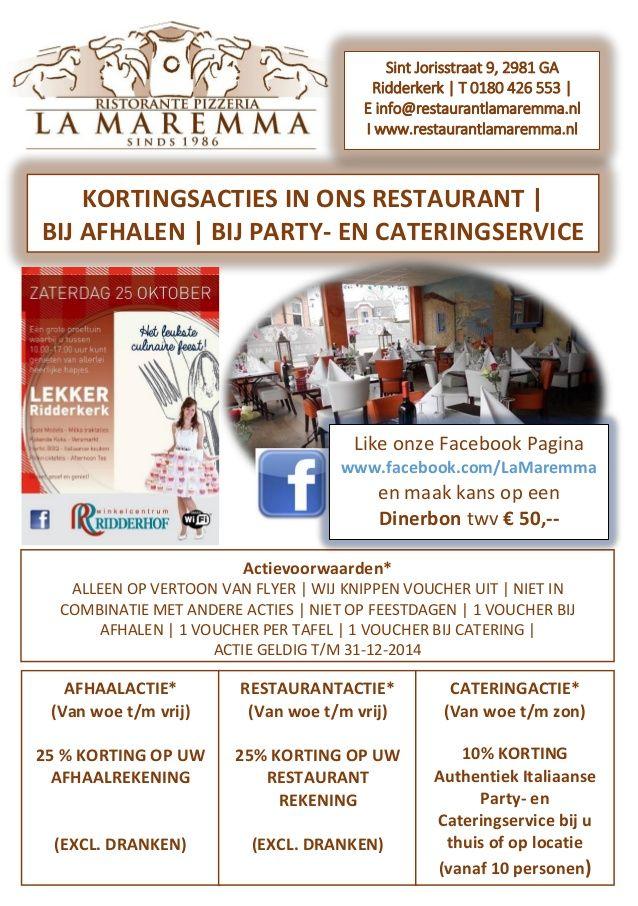 KOM, BELEEF, PROEF EN PROFITEER a.s. zaterdag 25 oktober tijdens Het Leukste Culinaire Feest 'LEKKER RIDDERKERK' in Winkelcentrum Ridderhof. Mocht u niet in de gelegenheid zijn dit Event te bezoeken, dan bieden wij u de gelegenheid deze Flyer uit te printen, zodat u tóch kunt profiteren van onze kortingsacties t/m 31 december 2014.