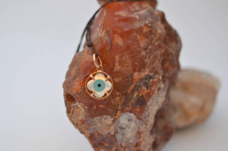 Evil Eye Gold Necklace Solid 18k Rose Gold Necklace Delicate Rose Gold Necklace Protection Gold Necklace Circle Rose Gold Necklace Handmade by ViazisJewelry on Etsy