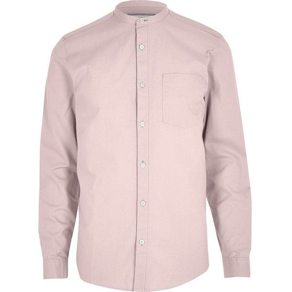 River Island Dusty pink Oxford grandad shirt (£10) ❤ liked on Polyvore featuring men's fashion, men's clothing, men's shirts, men's casual shirts, pink, shirts, mens woven shirts, mens collared shirts, mens pink oxford shirt and mens long sleeve oxford shirts