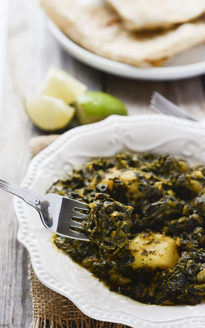 Vegan Aloo Palak (Potato Spinach Curry)  Rachael really liked this and ate it the next day for lunch also