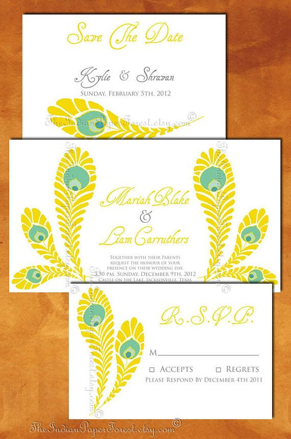 PRINTABLE ROYAL PEACOCK Invitation Suite Custom Design Diy ...