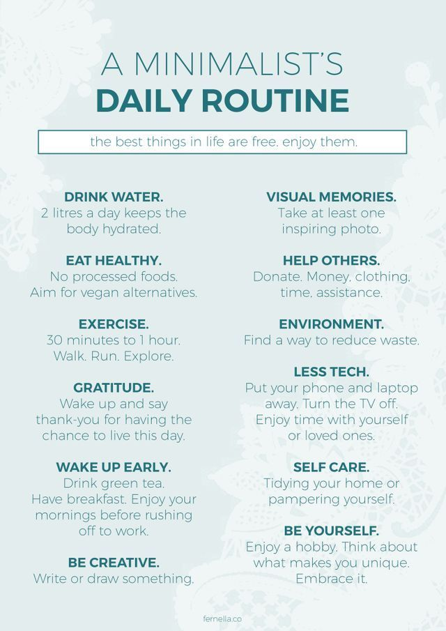 A Minimalist's Daily Routine (Fernella & Co.) – …