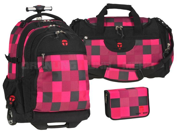 Take it Easy FIRE - 3teiliges SET Trolley Rucksack Sporttasche Stiftetui - pink kariert 28045-481-209-S3