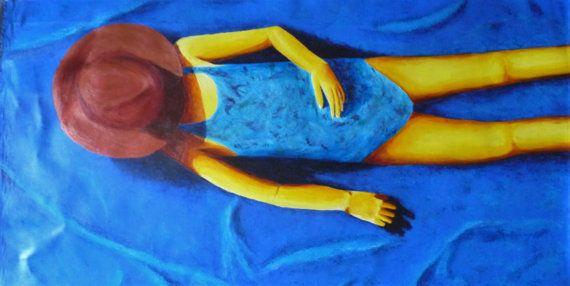 Ce tableau représente une fillette portant un chapeau, allongé sur une plage. Intitulé se dorer la pilule, il fait écho au tableau pilules adorées de la série jeux de plage. Les couleurs sont vives et dynamiques. Dimension : 100 cm x 75 cm  Toile à dérouler (comme une serviette ! )  Tableau réalisé en 2016  Lenvoi est réalisé dans un carton rigide, adapté, pour éviter tout choc. Très soigné.  Pour tout savoir sur ce tableau, et notamment son processus de fabrication : http://www.pig...