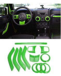 Amazon.com: E-cowlboy Full Set Interior Decoration Trim Kit including Steering Wheel Trim, Centrer Console Air Outlet Trim, Door Handle Cover Inner, Passenger Seat Handle Trim For Jeep Wrangler 2011-2016 4-door (Green): Automotive