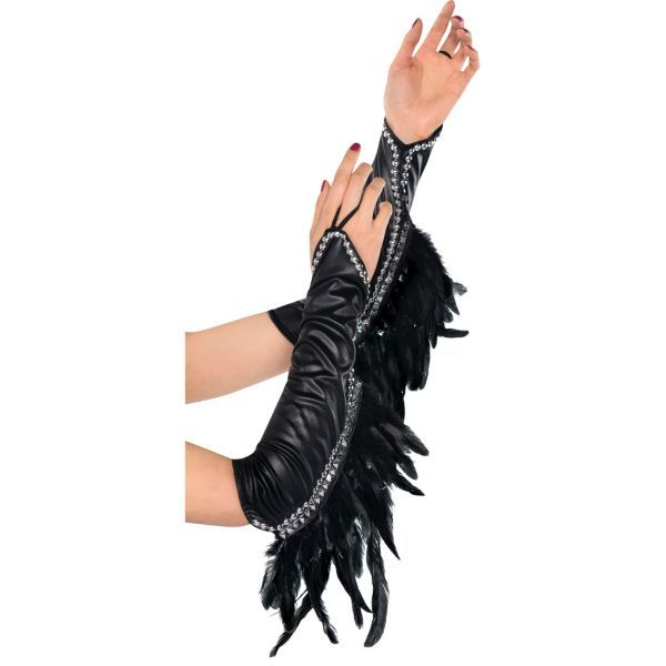 Deluxe Raven Feather Gloves