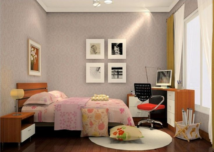 amazing tiny bedroom design with single bed and night table also study desk with computer and