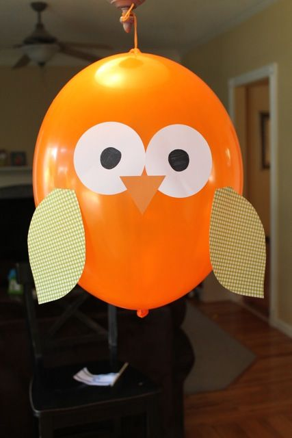 "Owl balloon.  This one is much cuter than some of the others I've seen.  I like that there aren't any ""ear tufts"".  I think that makes them look like bats instead of owls.  :)"