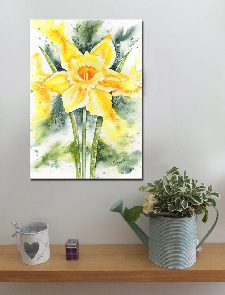 DAFFODIL SPLASH http://www.splashyartystory.com/shop/art-prints/daffodil-splash-art-print-of-painting/