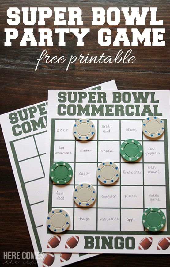 Print out this Super Bowl Party game to make the commercials during the big game even more fun! Free printable
