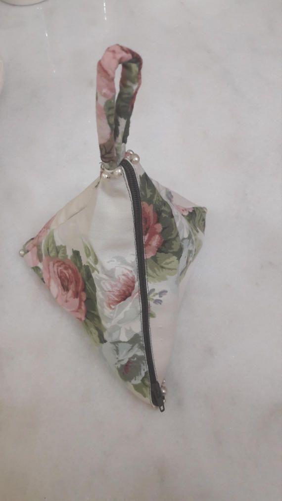 Handmade Pyramid Makeup Bag with vintage by FlowerPowerByIlia