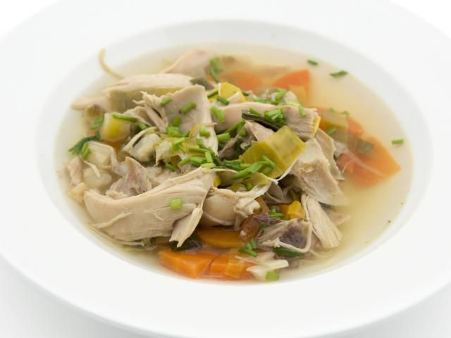 This Chicken and Leek soup is also known as Cock-a-Leekie Soup in Scotland. It is a hearty soup, and can almost be a main course it is so filling.