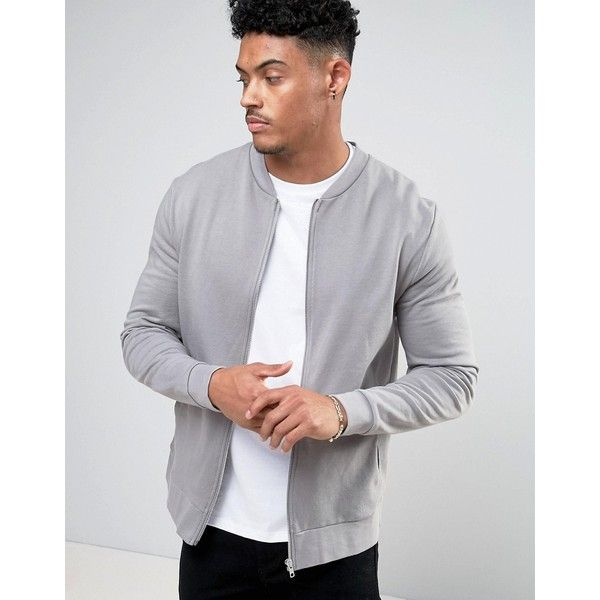 ASOS Jersey Bomber Jacket In Grey ($30) ❤ liked on Polyvore featuring men's fashion, men's clothing, men's outerwear, men's jackets, grey, mens gray leather jacket, mens cotton bomber jacket, asos mens jackets, mens fitted jacket and mens grey bomber jacket
