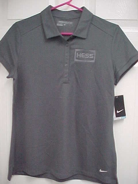 5a60cbf09f75f HESS CORPORATION Women Gray Short Sleeve Golf Polo Shirt L Nike Dri Fit New  Tag  Nike  PoloShirt