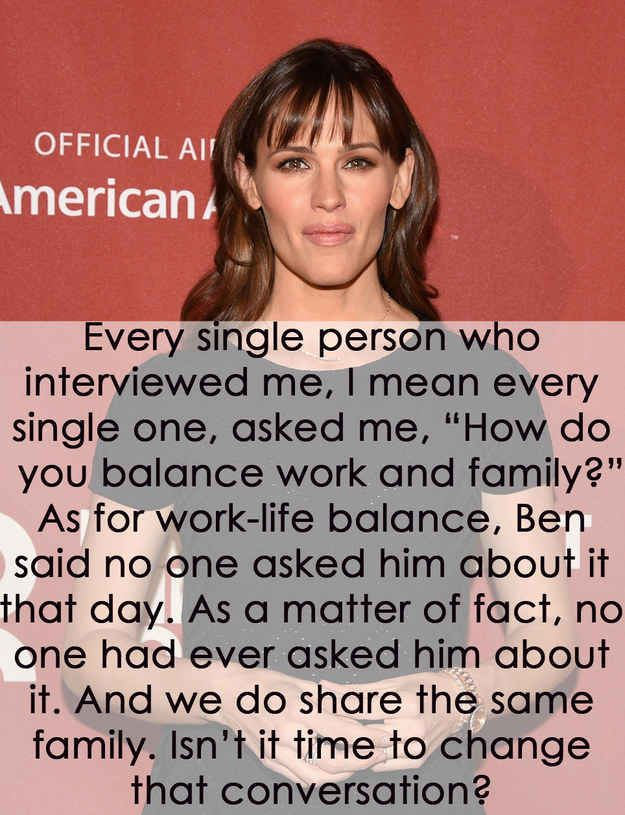When Jennifer Garner highlighted how different the questions directed at her and husband Ben Affleck really are.