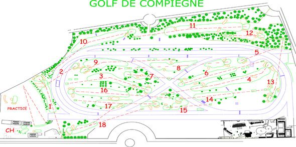 An illustration of the golf course layout on with the 1st Olympic Golf Matches were played  at Compiegne, just outside of Paris.