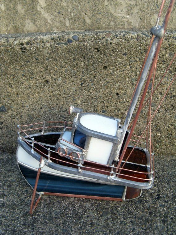 Stained GlassTrawler Model Boat by Glassquirks on Etsy << Repinned by @Cindy Burks for Sale UK. Follow us on Twitter or find us on Facebook for news, updates and more!