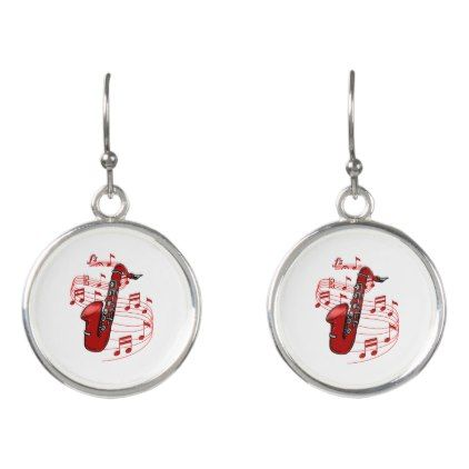 Red Sax With Music Notes Earrings - jewelry jewellery unique special diy gift present