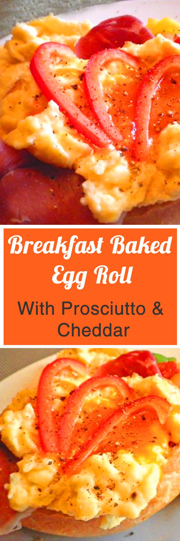Breakfast Baked Egg Roll With Prosciutto & Cheddar. For more info, please visit http://www.recipezazz.com/