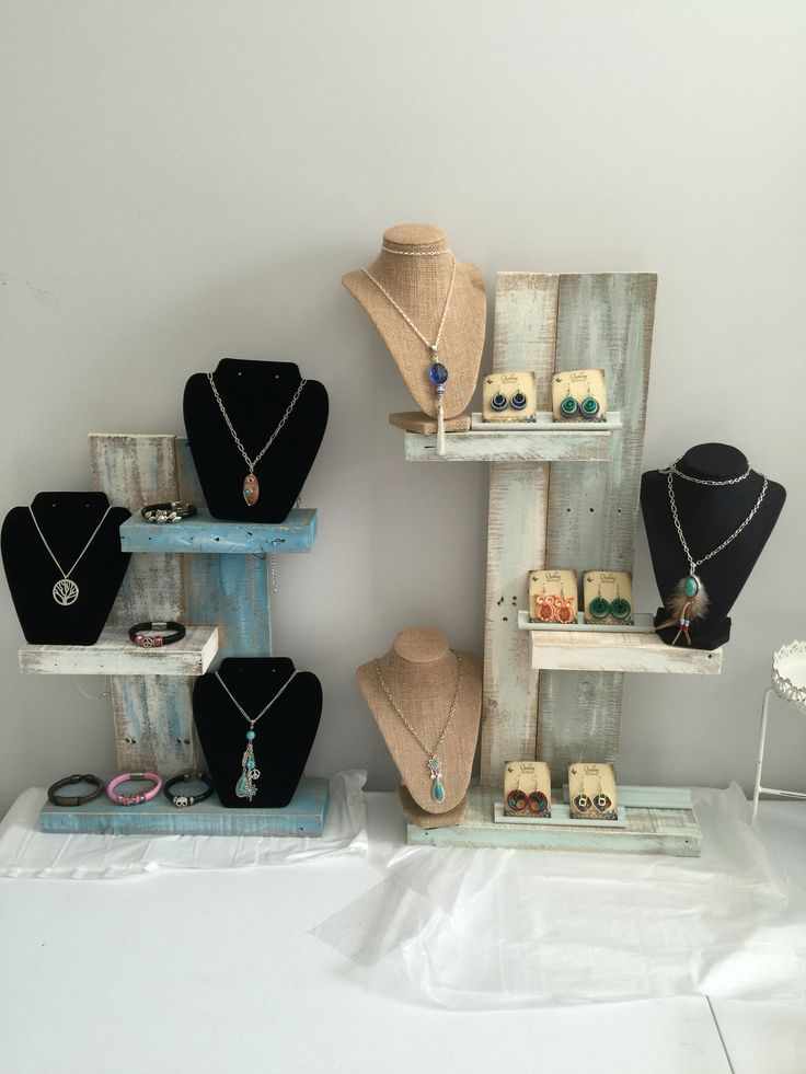 Craft booth shelves made out of a pallet