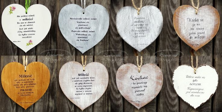 Wooden hearts with love-related quotes http://blog.sowiarnia.pl/2013/07/drewniane-serca-z-sentencjami-o-milosci/