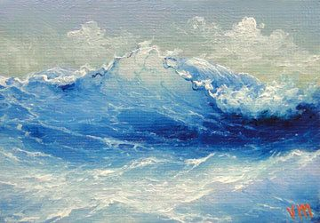 Caribbean Wave ACEO original oil painting by vladimirmesheryakov, $59.99