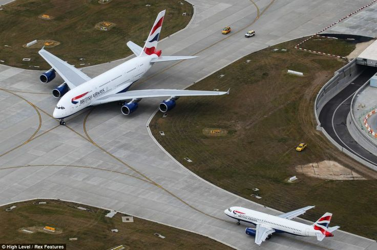 British Airways Flight Approaching parking lot in London Airport