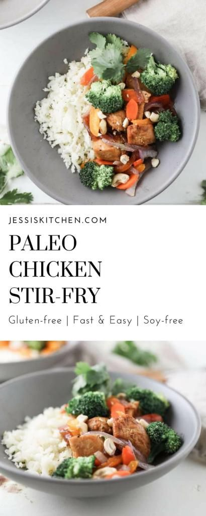 A paleo dinner on the table in 30 minutes or less. This easy paleo chicken stir-fry is loaded with peppers, broccoli, onions and chicken. Serve it over some low-carb cauliflower rice for an extra boost on nutrients. Click the link to learn more.