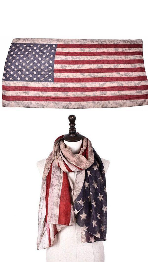 Retro Stars Striped Scarf American Flag Print Women Scarf In 2020 American Flag Print American Flag Scarf Flag Prints
