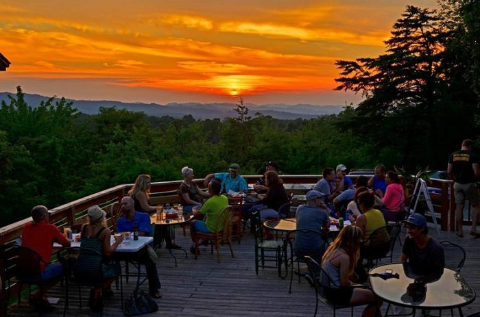 The location right over the New River Gorge makes this the perfect spot to watch the sun set.