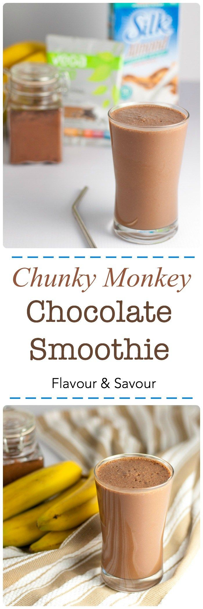 Chunky Monkey Chocolate Smoothie. All your favourite flavours in one healthy protein-packed smoothie, made with Vega One Nutritional Shake mix and Silk non-dairy milk. #SilkSummerofSmoothies #Vega #ad