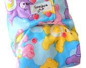 Care Bears One Size Cloth Diaper with PUL Pink Heart Snaps - Newborn Toddler Girls