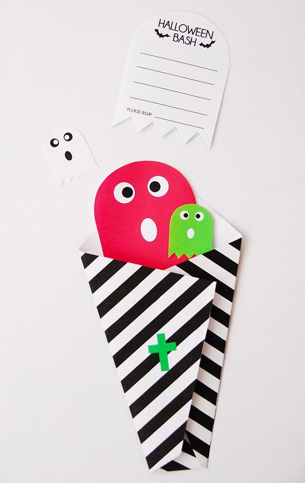 Invitaciones imprimibles para Halloween >> Printable Bright Ghost Halloween Invitations - free to print & easy to make