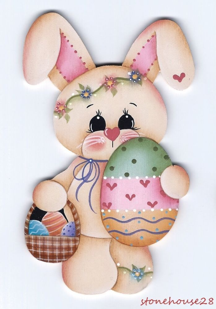 HP BUNNY with Easter Egg Basket FRIDGE MAGNET #Handpainted