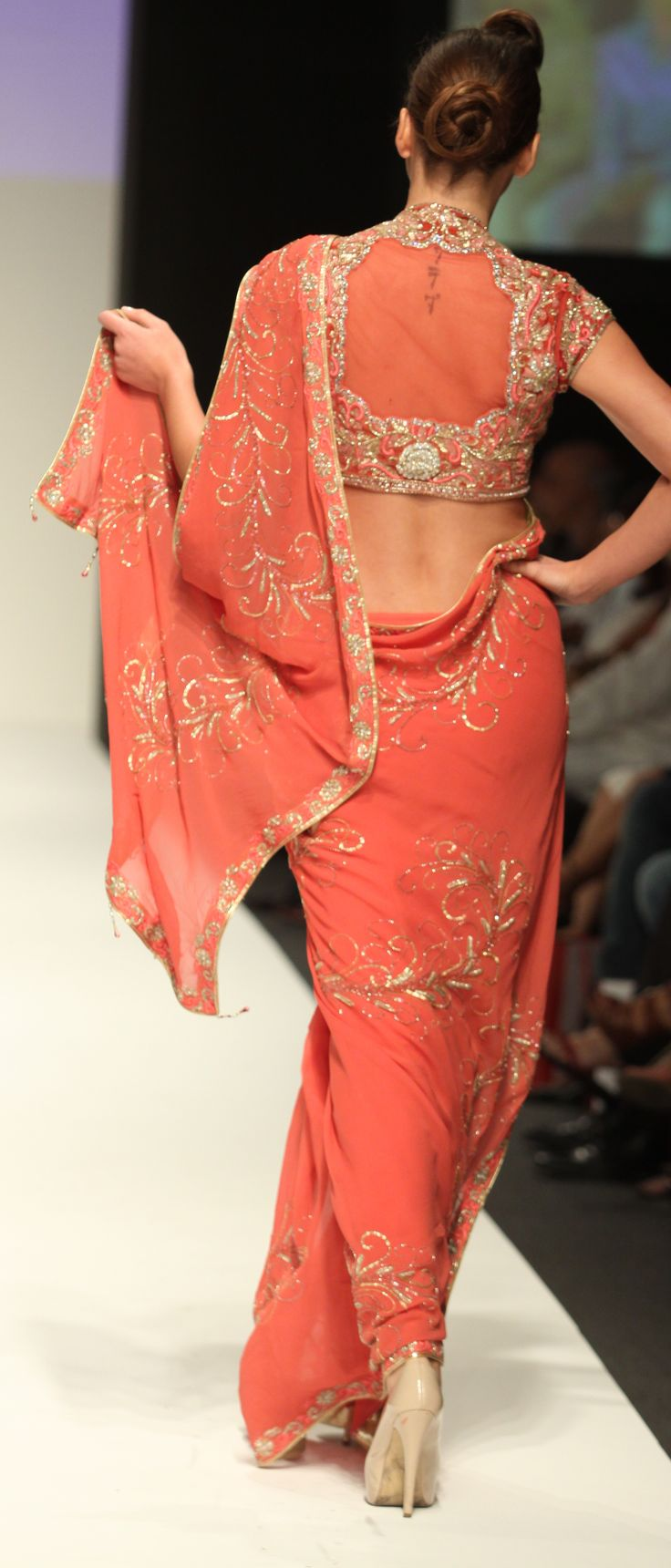 Peach saree