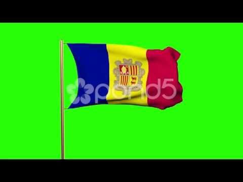 Andorra Flag Waving In The Wind. Green Screen, Alpha Matte. Loopable Animation - http://quick.pw/1e-x #travel #tour #resort #holiday #travelfoodfair #vacation