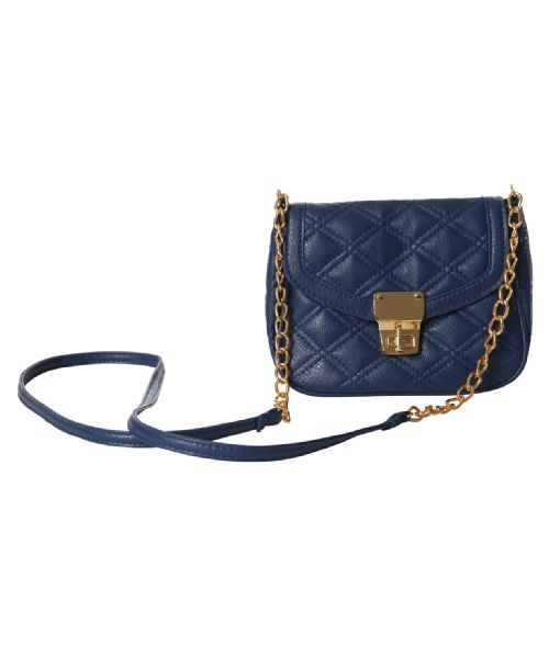 kismet quilted cross body mini purse with chain straps in gold and navy @Chris Munroe