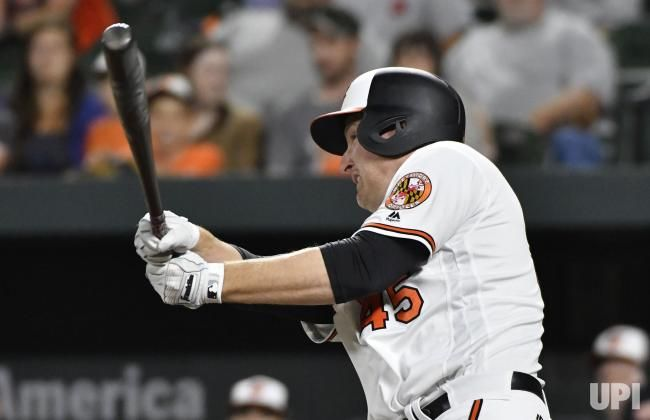 Baltimore Orioles designated hitter Mark Trumbo hits a game-winning single that scored Adam Jones to defeat the Pittsburgh Pirates 6-5 in…
