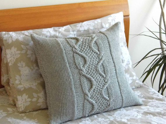 Hand Knit Cabled Pillow cushion Light Gray wool. by ELITAI on Etsy,