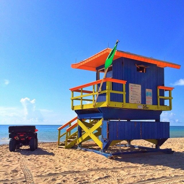 blue miami beach art deco lifeguard stands