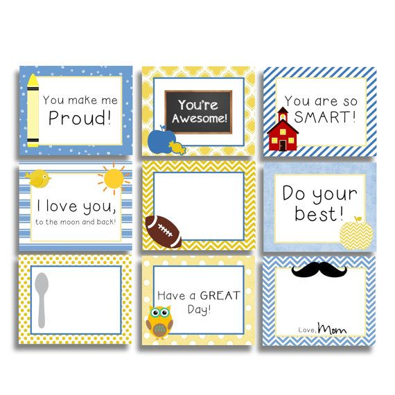 Back to School Boy Lunch Box Notes Yellow by KennedyLaneDesigns, $5.00
