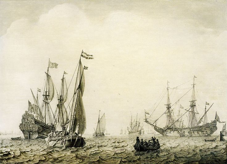 Ludolf Backhuysen, c. 1660 - - - Ships before Vlissingen