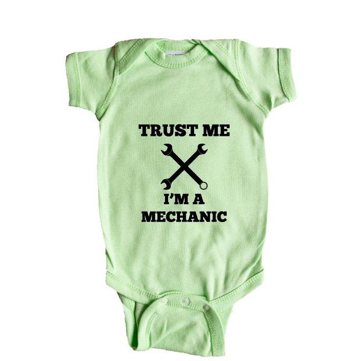 Trust Me I'm A Mechanic Garage Garages Fixing Car Cars Automobiles Job Career Hobby Hobbies Tools Tool SGAL8 Baby Onesie / Tee