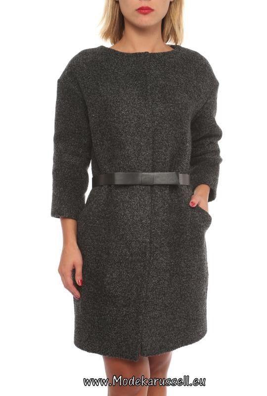 Rundhals Damen Mode Mantel Schwarz Auroras