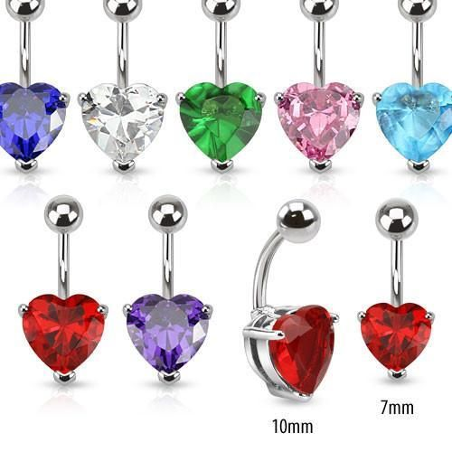 Heart CZ Belly Ring