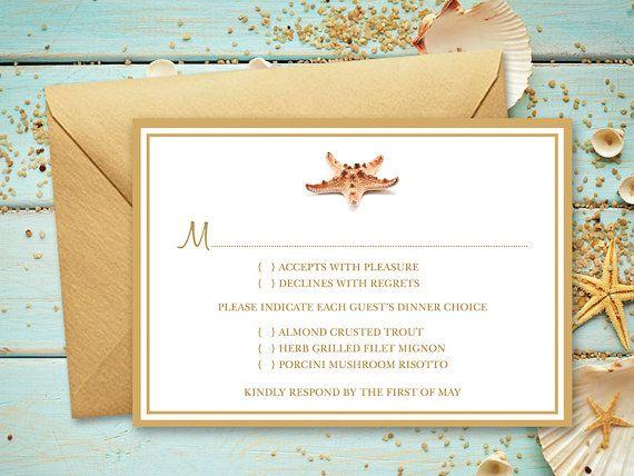 Printable Beach Wedding RSVP Card Template Seashell Songs By Shishko Templates Gold Frame DIY