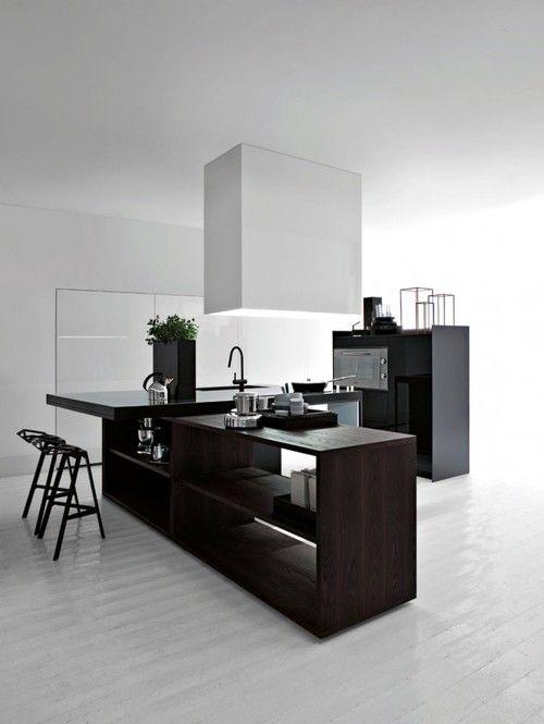 Light and dark kitchen.