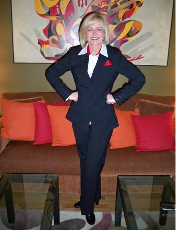 Delta flight attendant uniform, designed by Richard Tyler